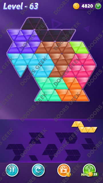 Block! Triangle Puzzle 8 Mania Level 63 Solution, Cheats, Walkthrough for Android, iPhone, iPad and iPod