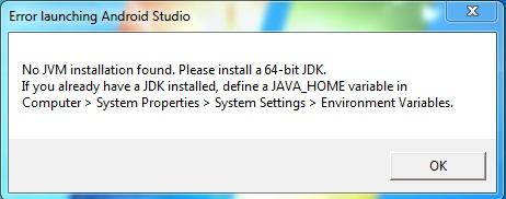 No JVM Installation found  Please install a 64 bit JDK