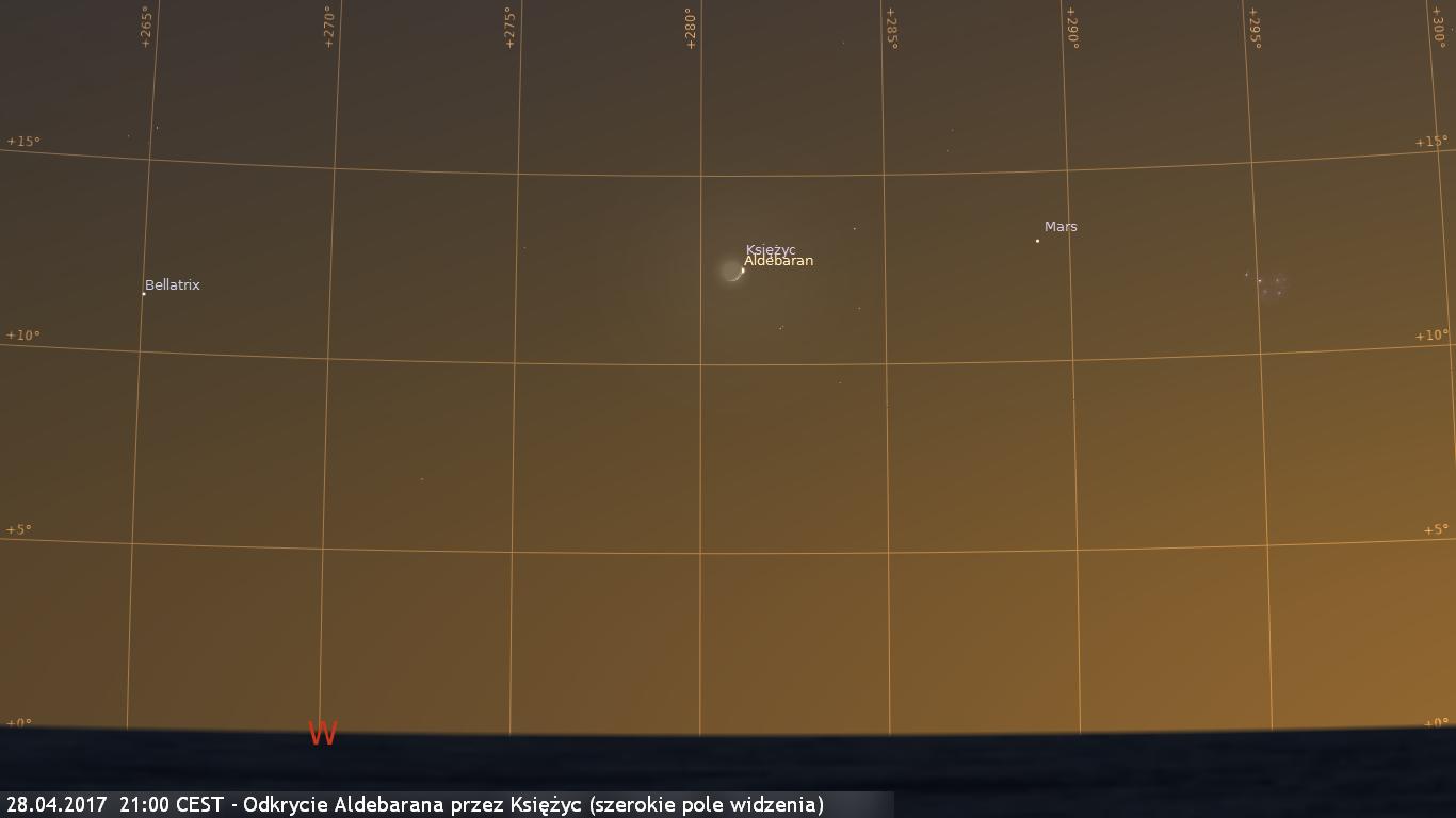 28.04.2017  21:00 CEST - Odkrycie Aldebarana przez Księżyc - szerokie pole widzenia