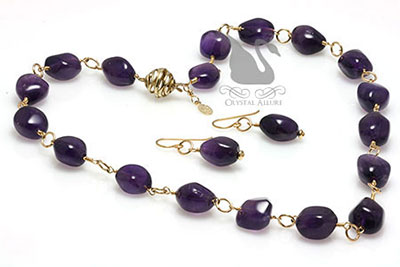 Golden Rings Amethyst Gemstone Jewelry Set (N051, E169)