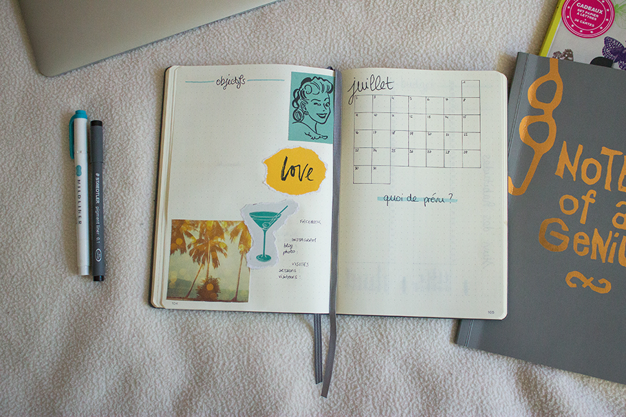 bullet journal juillet bujo monthly spread