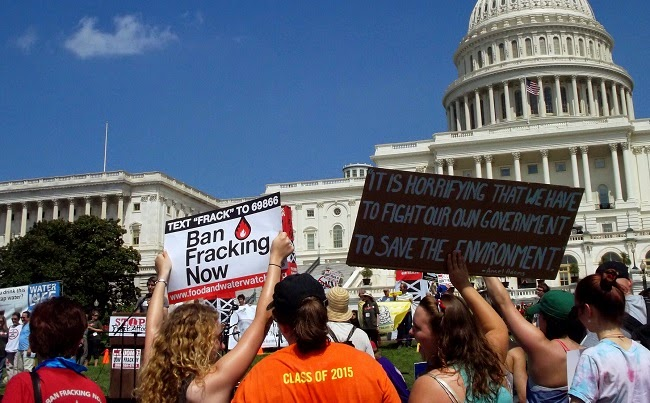 An anti-fracking protest against the rising shale oil production in the US. (Credit: Bill Baker via Flickr) Click to Enlarge.