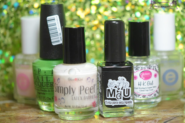 Essie Grow Stronger, O.P.I Front Lawn, Bliss Kiss Simply Peel Latex Barrier, Mundo De Unas Black, HK Girl Fast Drying Top Coat, Essie Matte About You