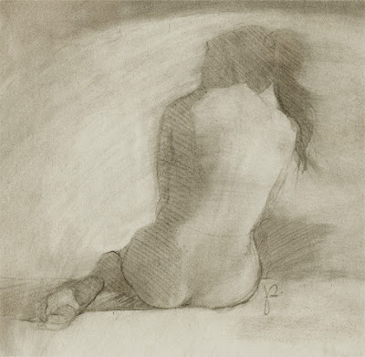 Female nude charcoal drawing