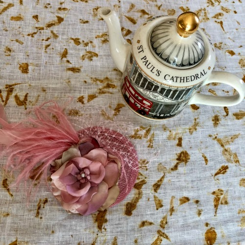 Royal Wedding viewing party fascinator and London tea kettle