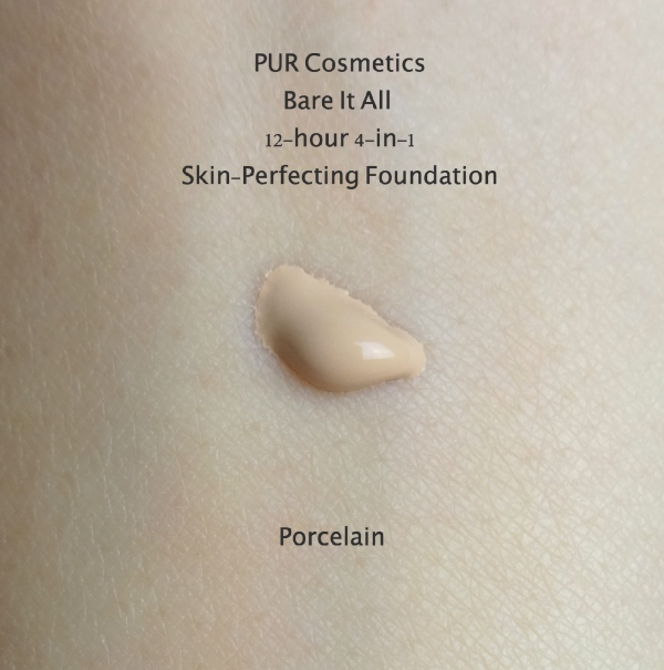 PUR cosmetics Bare It All foundation porcelain swatch
