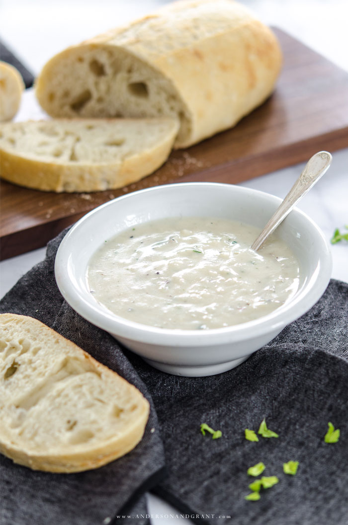 A few special details give this Idahoan potato soup a fresh, homemade taste for a warm winter meal.  |  www.andersonandgrant.com