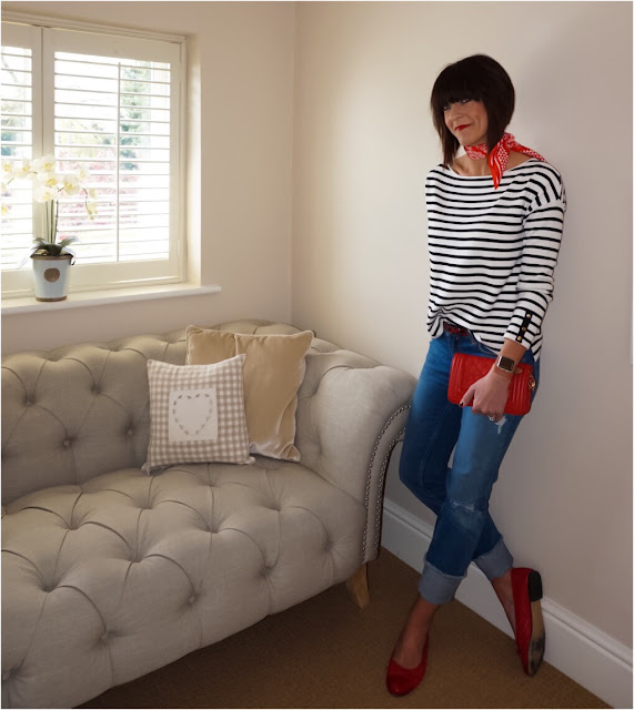 My Midlife Fashion, Zara striped top, Zara paisley design scarf, straight legged turn up jeans, red patent quilted ballet pumps, leather quilted bag