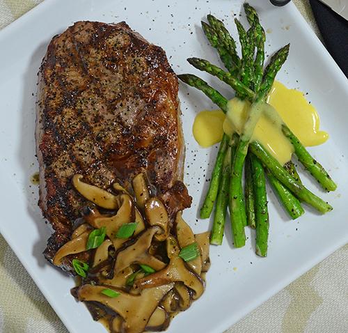 Grilled Prime Certified Angus Beef Ribeye Shiitake Mushrooms And Asparagus