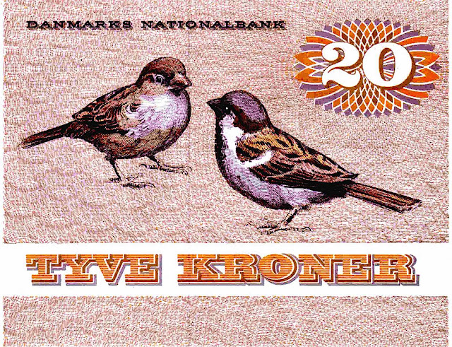 Denmark 1972 Tyve Kroner in currency with two birds
