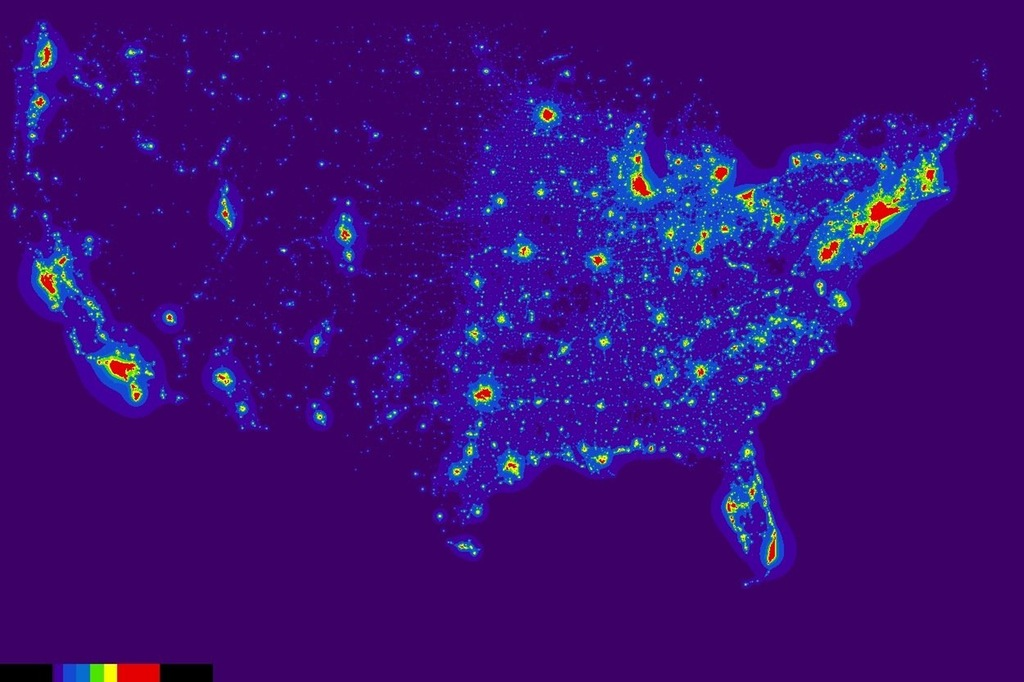 Light Pollution Map of the USA by the NOAA (2016)