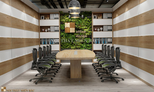 Nội thất phòng họp ấn tượng với chiếc bàn gỗ tự nhiên cùng chiếc ghế chân xoay linh động càng đảm bảo cho không gian sự chuyên nghiệp và ấn tượng