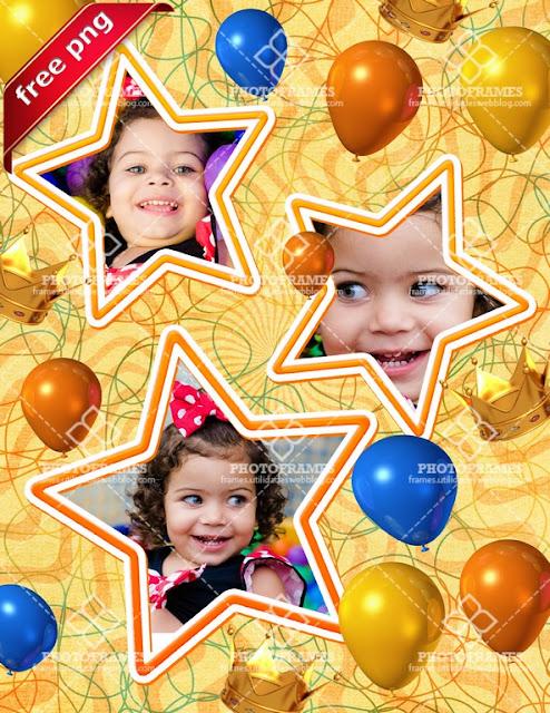 Marco de cumpleaños de niño para colocar 3 fotos