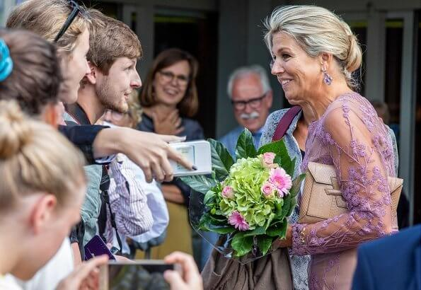 Queen Maxima wore Natan - Edouard Vermeulen embroidered lace and tulle dress. Alzheimer Nederland's 35th anniversary this year