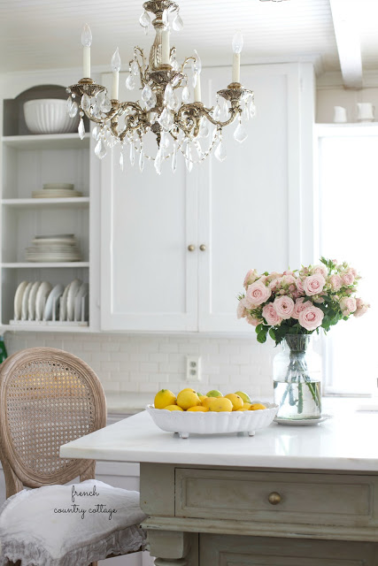 French Country Fridays- why I love the marble counters in our kitchen