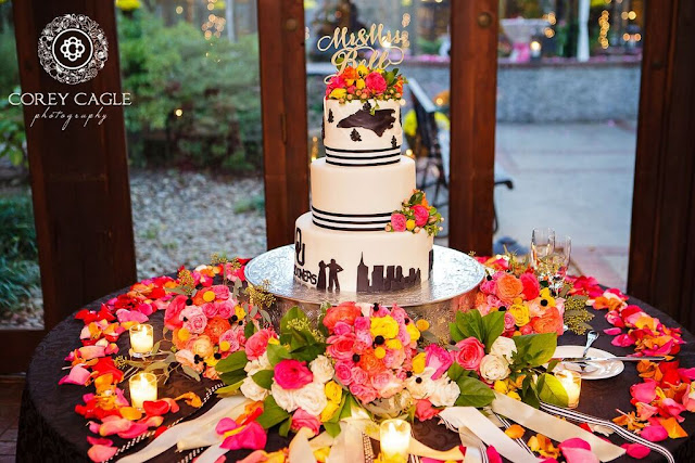 wedding cake with pink flower petals | Corey Cagle Photography