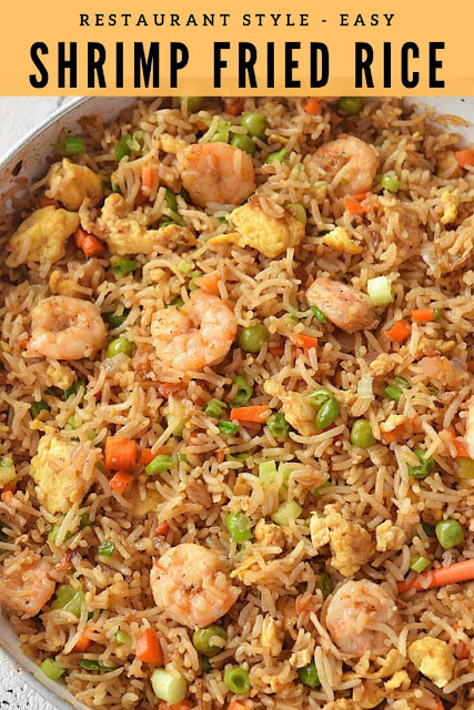 Best Fried Rice Recipe - Shrimp Fried Rice with loats of shrimp,egg,carrots,peas
