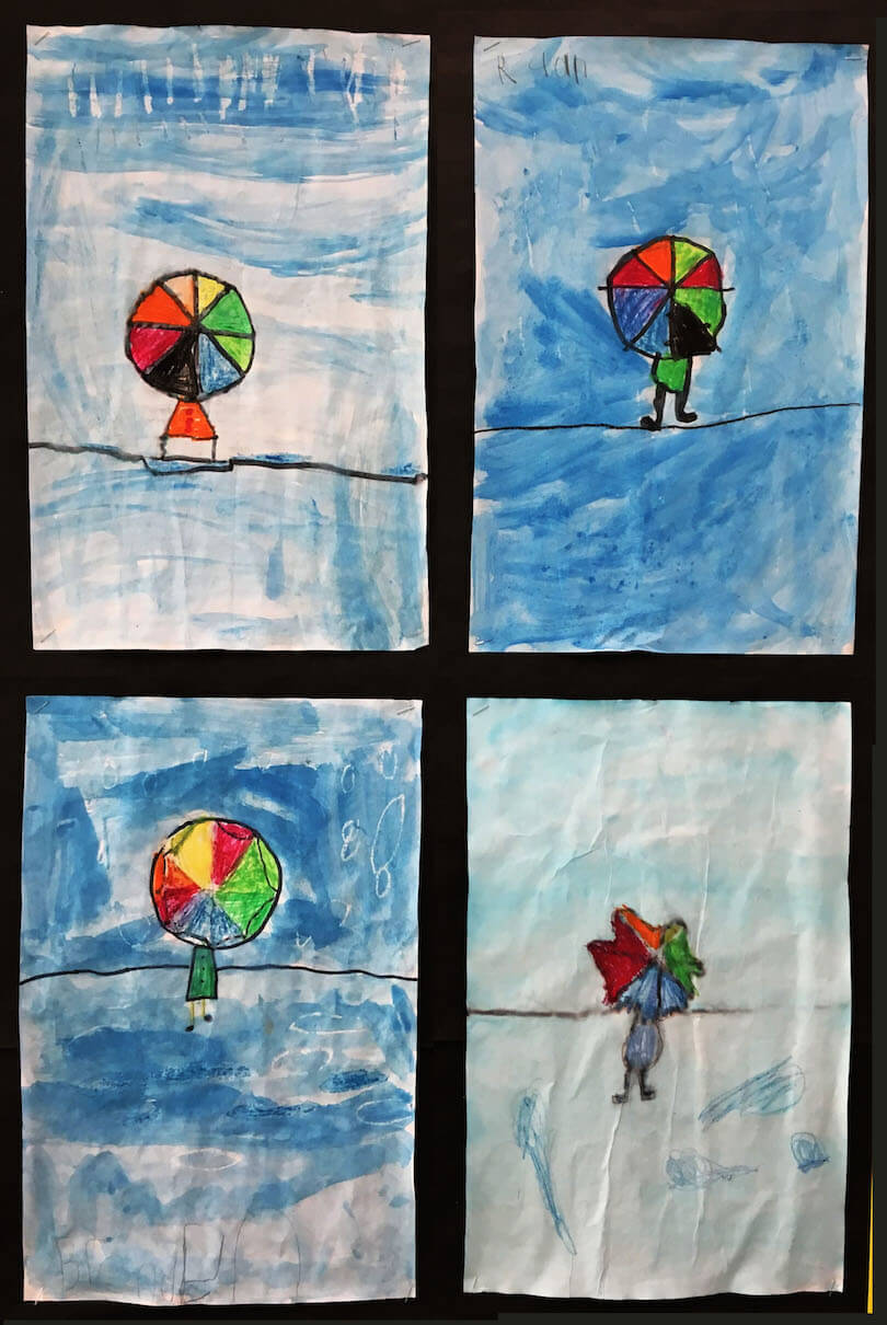 Spring Gallery Art:  Rainy Day paintings by a 1st Grade Class