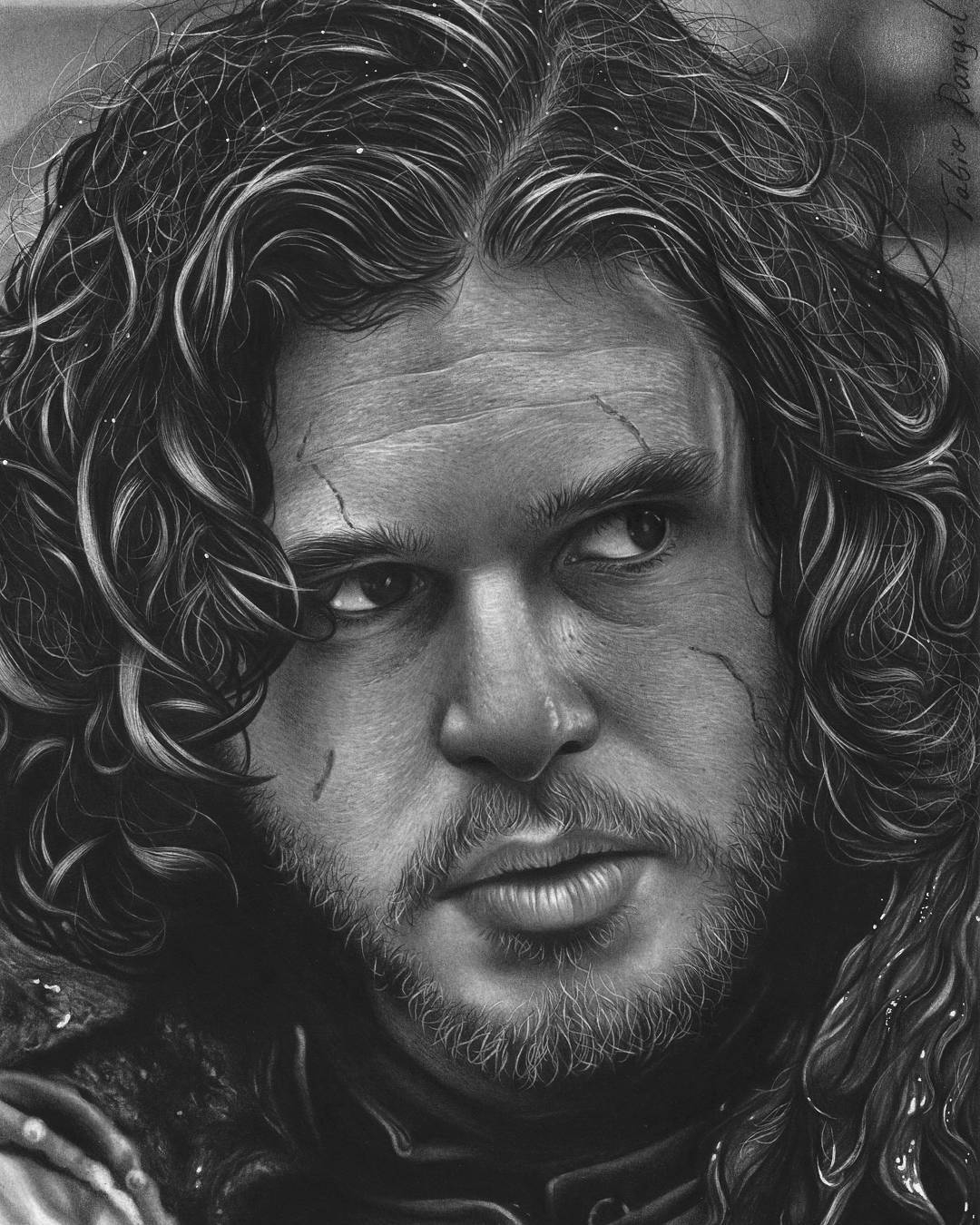 07-Jon-Snow-Kit-Harington-Game-of-Thrones-Fabio-Rangel-Drawings-of-Protagonists-from-TV-and-Movies-www-designstack-co