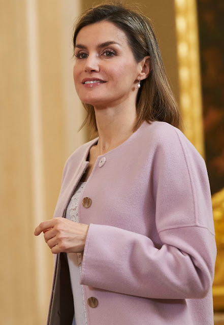 Queen Letizia of Spain attends an audience with the Governing Board of the College of Dentistry and Stomatology of the First Region and the representatives of Human Age Institute Foundation, at the Zarzuela Palace