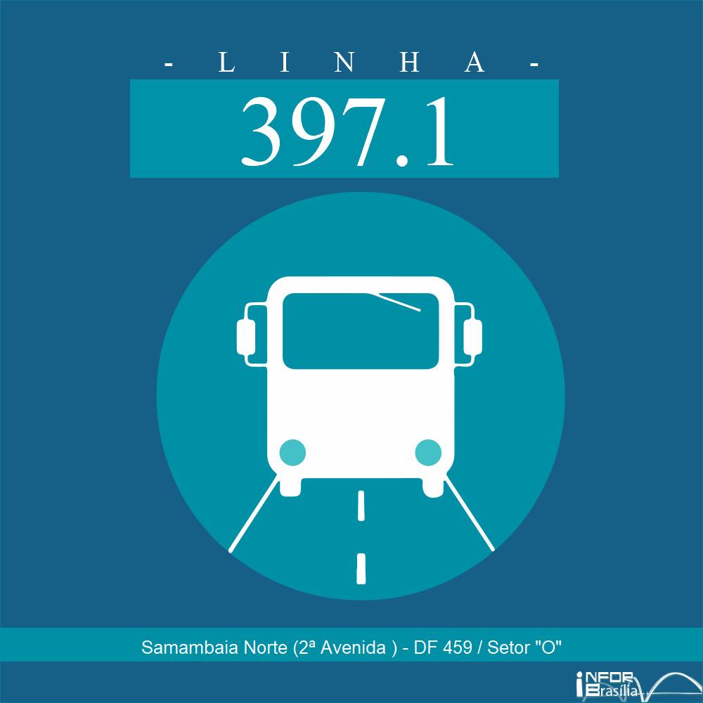 """Horário de ônibus e itinerário 397.1 - Samambaia Norte (2ª Avenida ) - DF 459 / Setor """"O"""""""