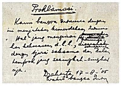 Teks Naskah Proklamasi tulisan Ir Soekarno yang ditempatkan di Monumen Nasional