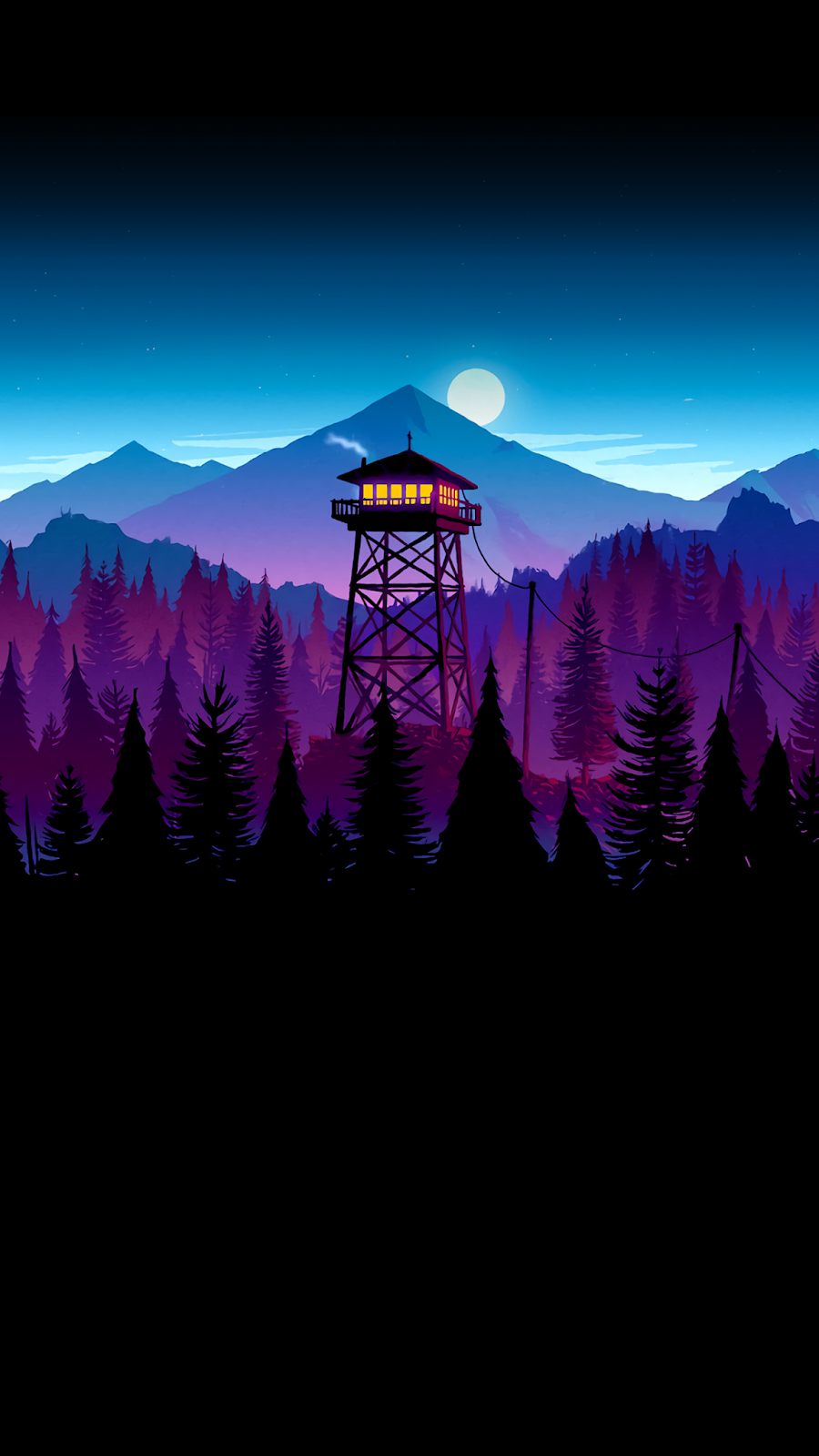 Firewatch Night Wallpaper for (Saving battery for Amoled display)