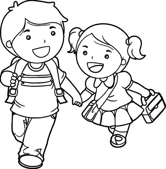 Tranh cho bé tô màu hai bạn đi học