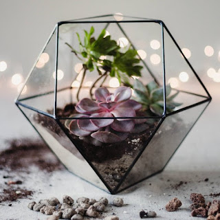 K'Mich Weddings - wedding planning- centerpiece ideas - glass terrarium geometry with succulents at esty