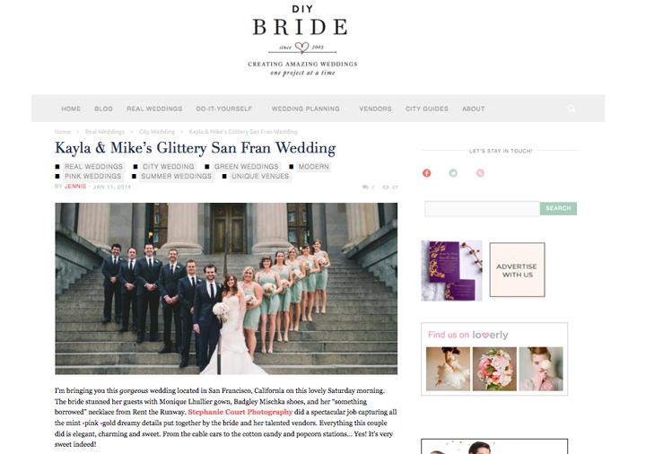 """""""San Francisco wedding featured on DIY Bride"""""""
