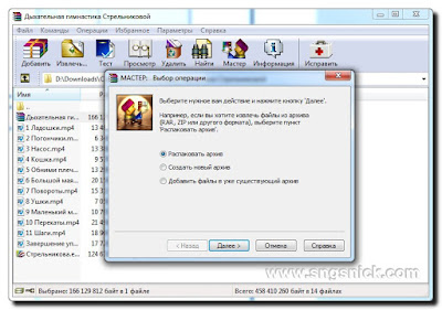 WinRAR 5.50 Final - Мастер - Окно выбора операции