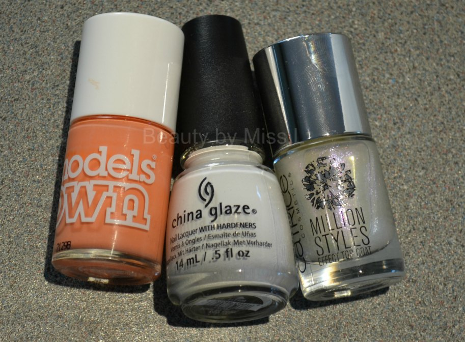 Models Own Peaches & Cream, China Glaze White on White, Catrice Holo Qué Tal?!