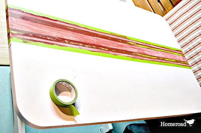 How to paint grain sack stripes on an up-cycled table