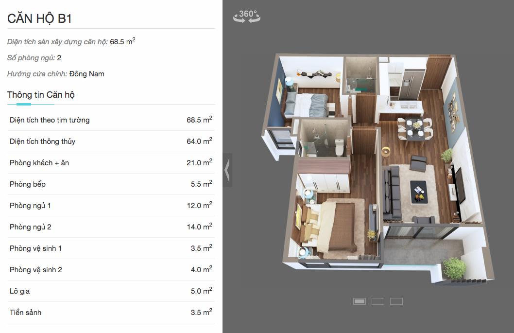 Thiết kế căn B1 chung cư The Legeng