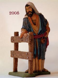 pastor apoyado en valla para belenes de 12 cm.