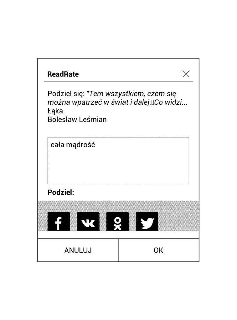 PocketBook Touch HD 3 – opcje logowania do ReadRate