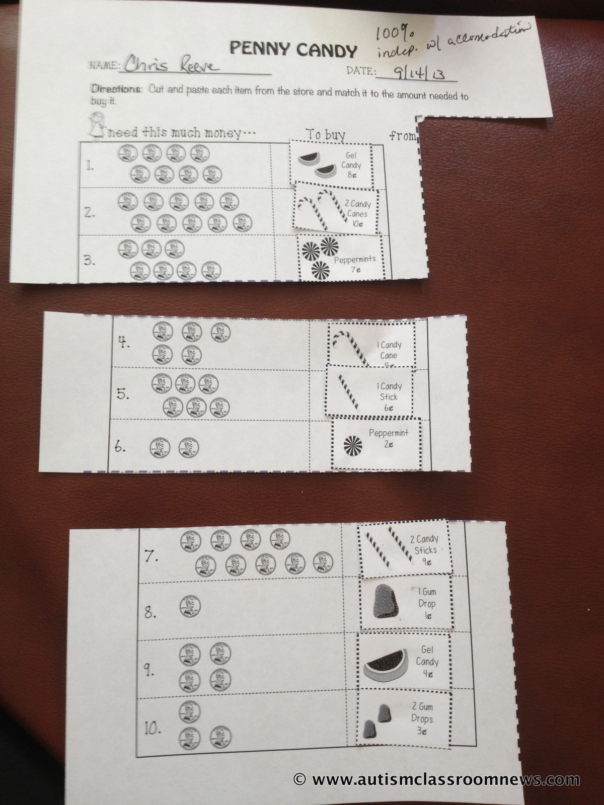 Freebie Adapting Worksheets For Students With Autism Setting Up Classrooms Series Materials