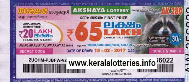 Text Kerala lottery official result of Akshaya (AK-292) on 10 May 2017