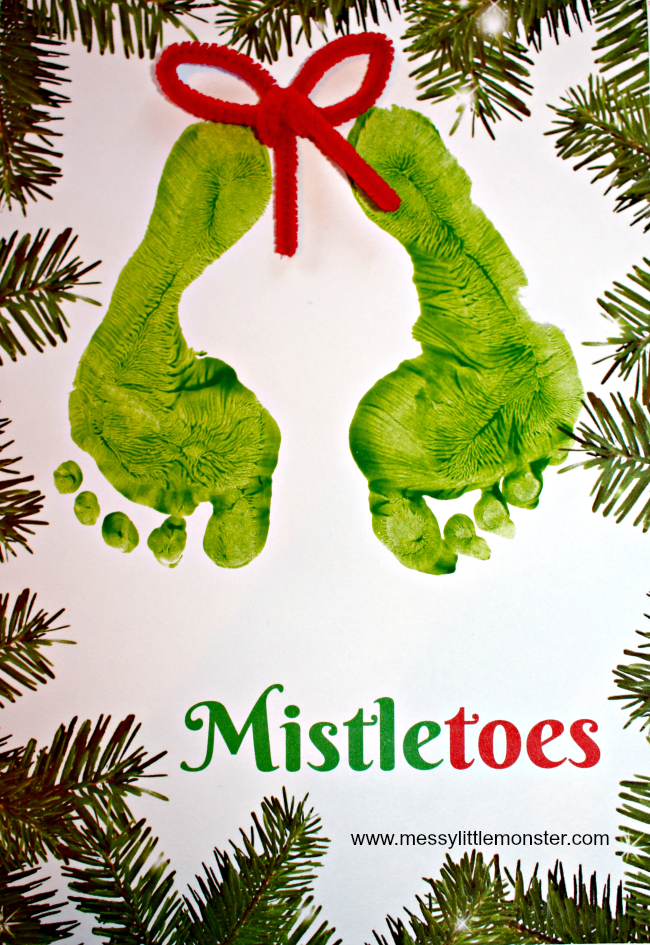 Christmas 'Mistletoes' footprint keepsake for kids with a free printable.   An easy keepsake Christmas Card idea for babies, toddlers and preschoolers.