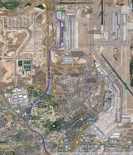 Ruta para llegar al aparcamiento de larga estancia del aeropuerto de Barajas.
