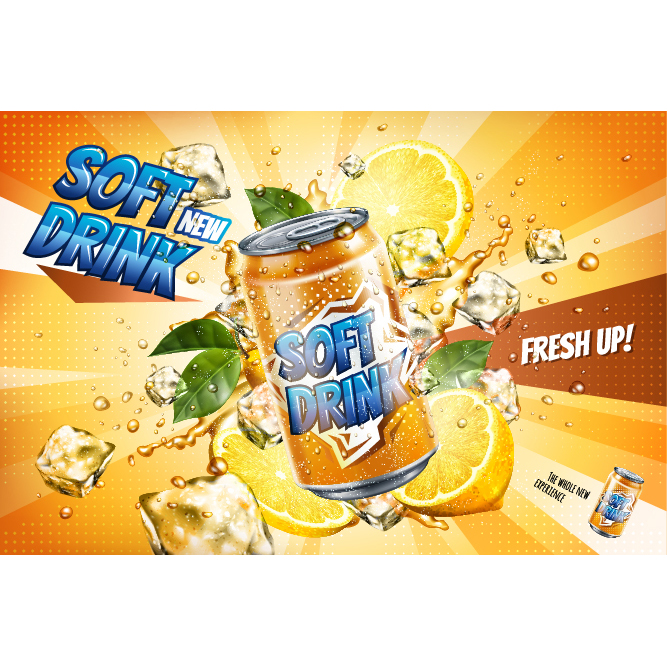 Soft drink with ice advertising poster free vector
