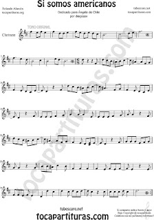 Clarinete Partitura de Si Somos Americanos Sheet Music for Clarinet Music Score