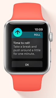 "photo of apple watch with the notification ""time to roll"" displayed for wheelchair users."