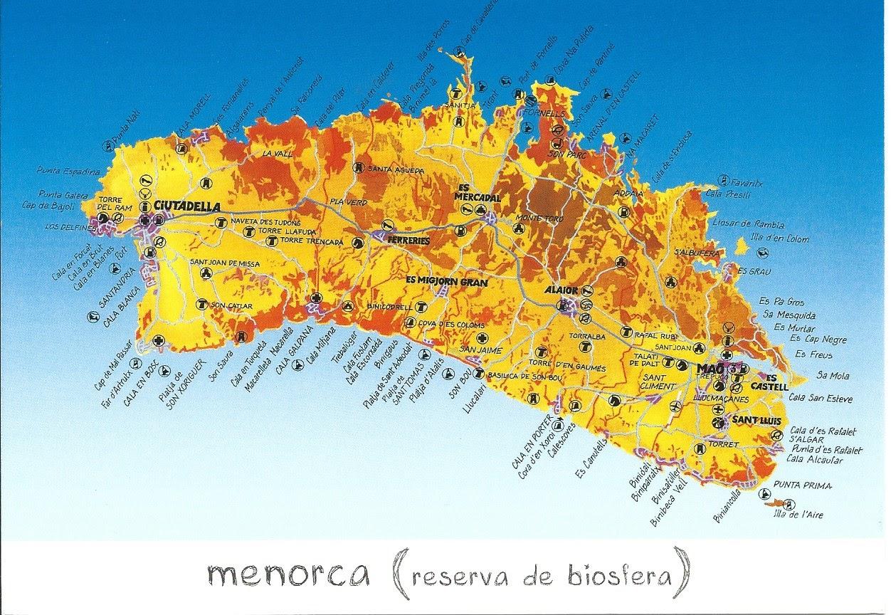 MY POSTCARDPAGE SPAIN Menorca Map UNESCO