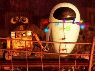 WALL-E hlding hands with Eve