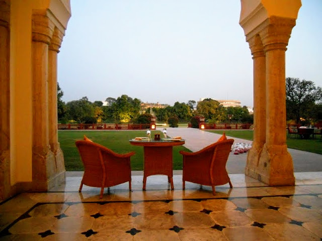 In the courtyard at Rambagh Palace in Jaipur India