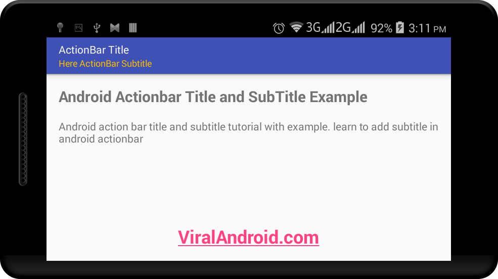 How to Set the Title and Subtitle in Android ActionBar with Text Color