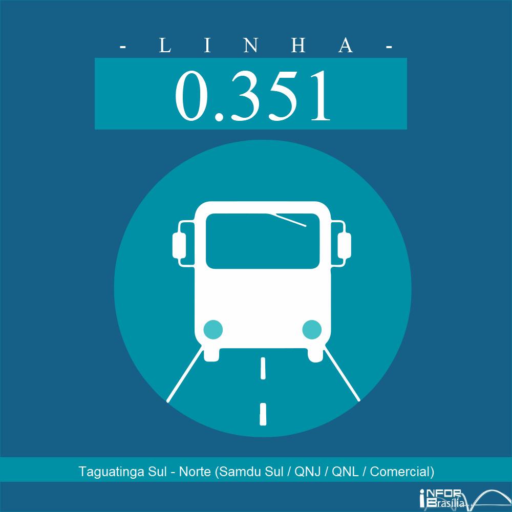 Horário de ônibus e itinerário 0.351 - Taguatinga Sul - Norte (Samdu Sul / QNJ / QNL / Comercial)