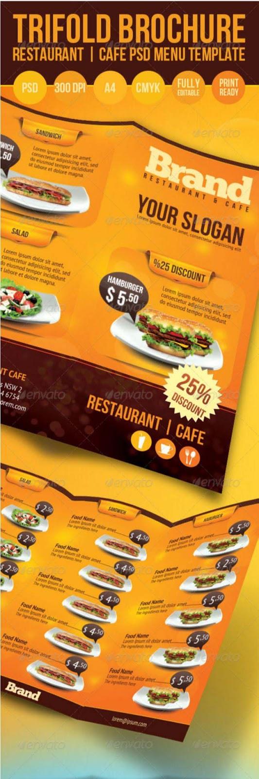 30 restaurant food menu templates indesign psd 2016 designsmag trifold brochure restaurant cafe menu psd template pronofoot35fo Choice Image