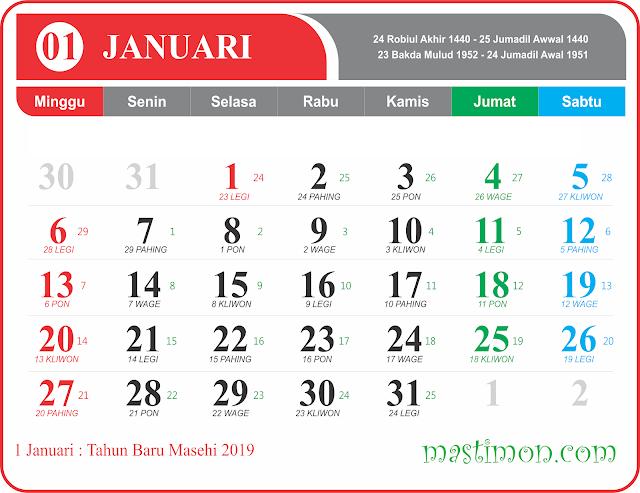 Download Kalender 2019 Per Bulan Pdf